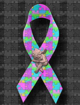 The Autism Awareness ribbon ...
