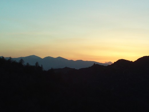 Another photograph of the magnificent sunset behind Mount Baldy.