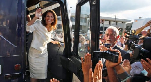 A triumphant Michele Bachman meets enthusiastic backers