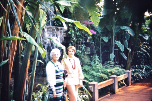 Inside the tropical dome - my grandmother and me.