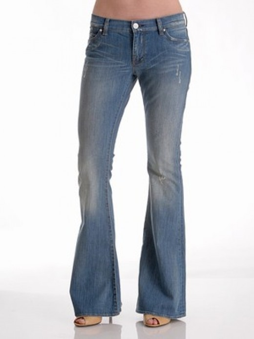 Flare jeans are good for taller women with big hips