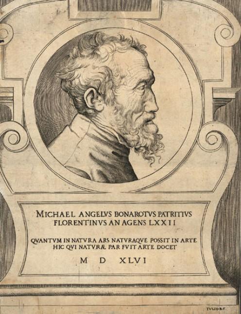 Michelangelo Buonarroti by Giulio Bonasone 1546. See: http://en.wikipedia.org/wiki/File:Michelangelo_by_Giulio_Bonasone.jpg