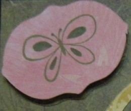 Small pink Cricut cutout.  The two green cutouts are underneath