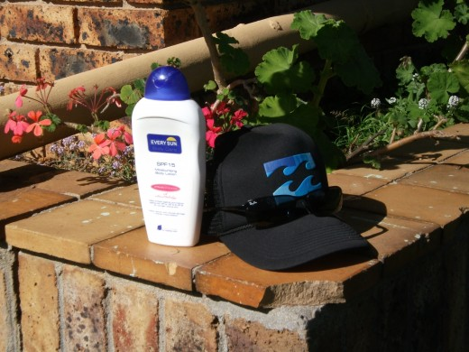 A hat, sunglasses, and sun tan lotion. Essential every time you spend more than a few minutes outside in the sun.