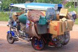 Modes of Transportation from around the World Slightly overloaded motor tricycle in N.E Thailand