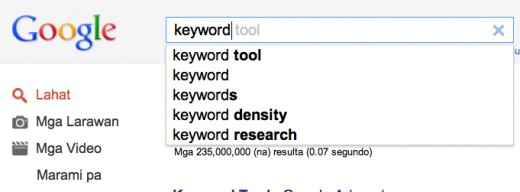Search Engines have automatic Keyword Suggestions that come out when you search