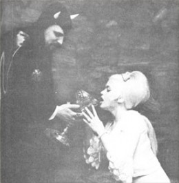 Anton Lavey and Jayne Mansfield engaging in some sort of Satanic rite.