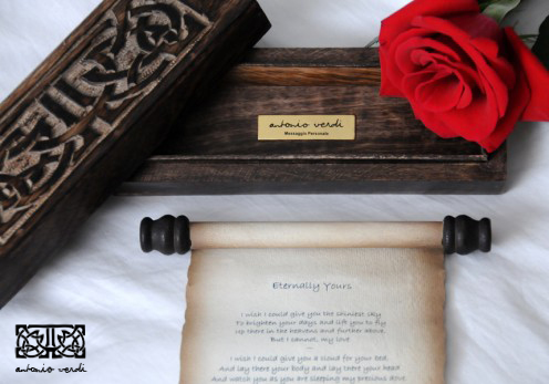 The personal gift of a poem on a scroll will make for an unforgettable Valentine's Day