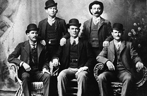Bill Carver, top left, the Sundance Kid, bottom left, and Butch Cassidy, bottom right. The other two members of the gang are not identified.