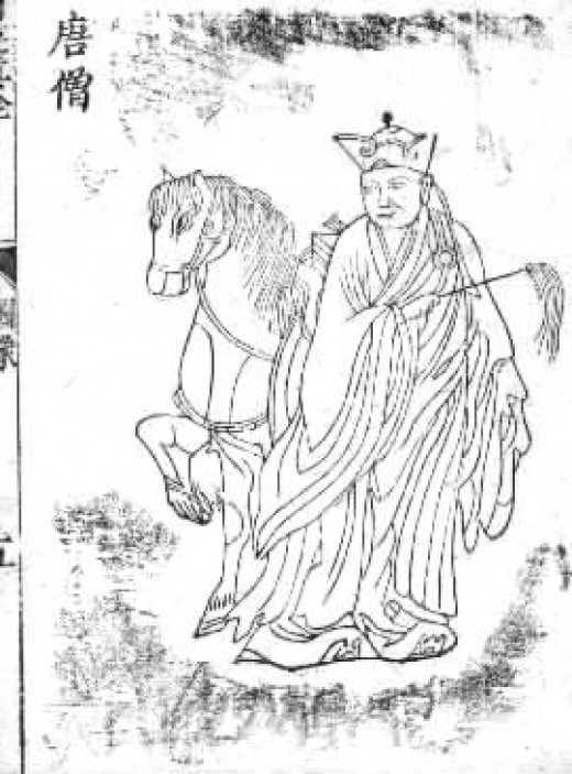 An early ilustration of Tripitaka (or, Xuanzang)