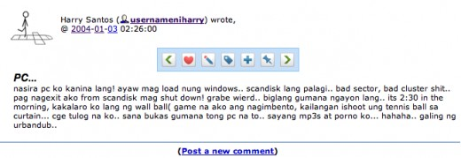 A screenshot of a blog post in 2004 from my first ever blog