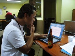A photo taken during my OJT. This was after work hours and our bosses would usually give us free drinks and pizza. Awesome.