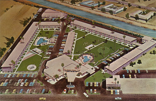 Drawing shows original design for the Safari Resort which eventually went through so many renovations that Beadle no longer claimed any association with it.