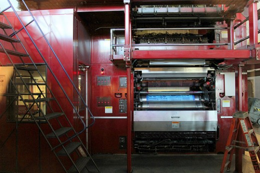 Newspaper printing press, late 2000s.