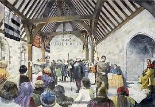 A trial in progress within Pickering Castle