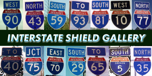 Collage of interstate highway signs