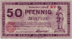 50 Pfennig, 1921, Cologne, signed by the Mayor of Cologne Konrad Adenauer,