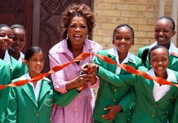 Oprah is known as much for her philanthropy as for her media success.