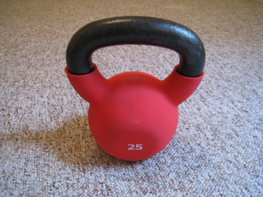 This is my own 25 lbs kettlebell with a neoprene cover.