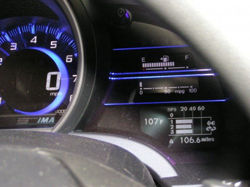In addition to showing that its 107F outside at 7:00 p.m., the Vehicle Information Display can also show the mileage that you received on your last three trips.