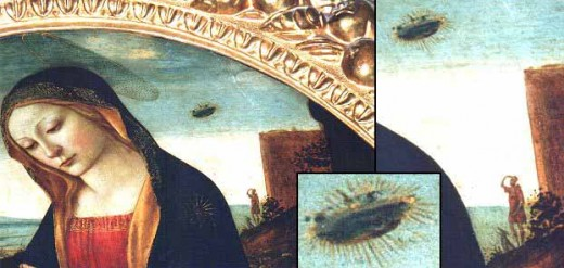 This painting from the 14th century also clearly shows some kind of flying saucer in the sky being lit up and emanating beams of light.