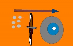 The early tools of empire include spear, shield, sword and coin