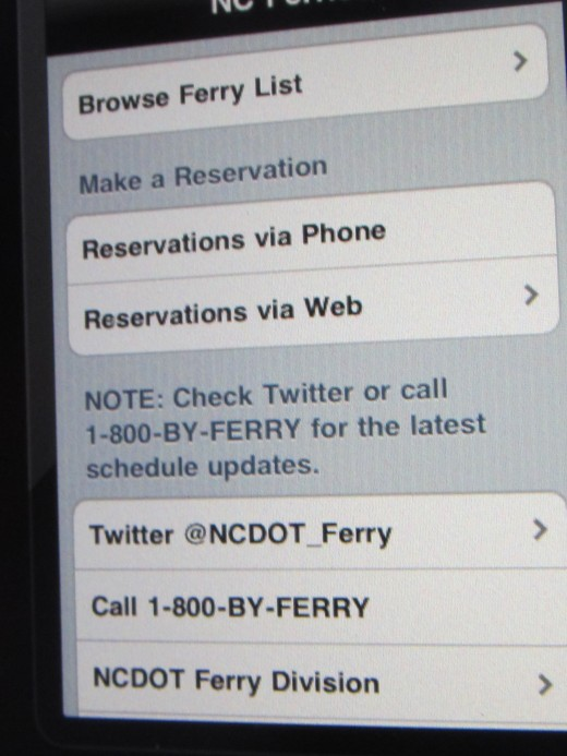 NC Ferries app allows you to browse for your Ferry