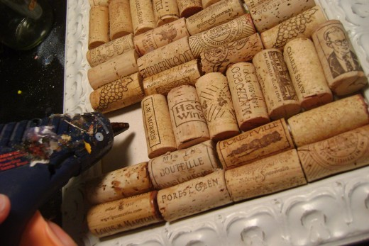Glue corks row by row