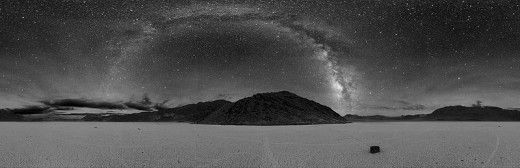 Death Valley at night and the arch you see is the Milky Way.