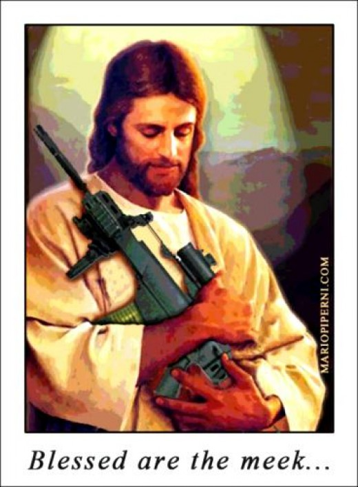 """Jesus said, 'I am not here to bring peace, but the sword',"" Matthew 10:34."