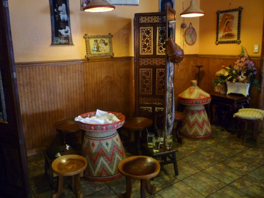 Interior décor of Blue Nile Ethiopian Restaurant in Houston