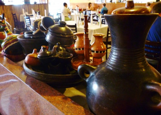 Pottery displayed inside of the Blue Nile Ethiopian Restaurant