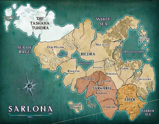 The world of Sarlona features tundra, desert, plains and mountains - and plenty of dragons and  dragonborn.