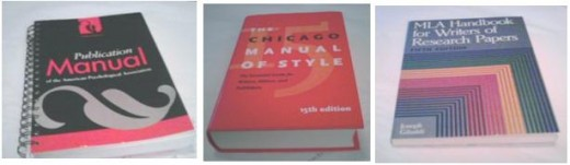 Chicago Manual of Stye, APA and MLA are the three sets of guidelines used in colleges and professional academic writing for writing style, citations and bibliographies.