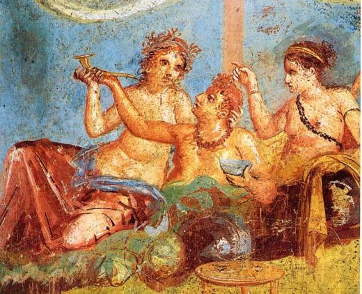 Roman banquet in Pompeii