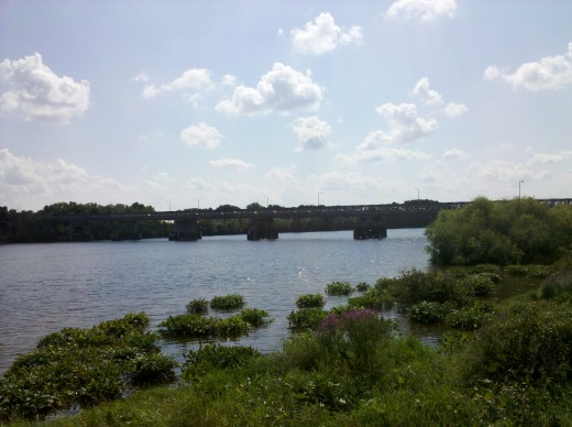 The Merrimack River in Lowell, Massachusetts. The site of the S.E. Asian Water Festival