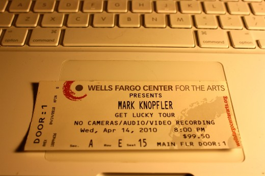 "I arrived in Santa Rosa, CA tired from a long trip from New Hampshire. My brother, Jon, said, ""Hey, Mark Knopfler is in town tonight"". I bought the last ticket close to the stage. What a show!"
