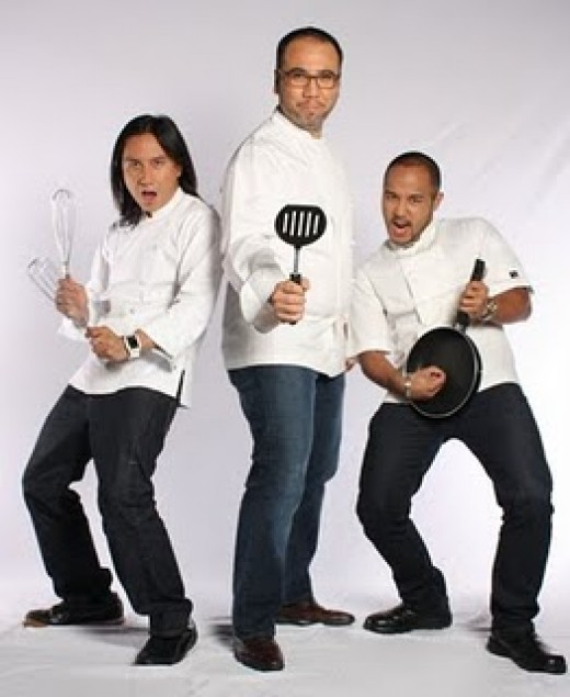 The Judges: (L-R) Chefs Lau-The Rebel, Ferns-the Maestro and Japs-The Traveler