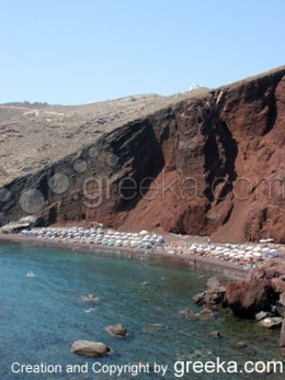 Santorini Pictures: The red Beach, the most famous beach of the island of Santorini Greece.