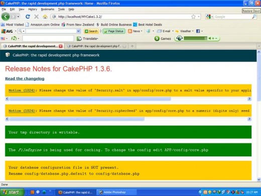 Welcome Screen of Cakephp