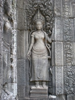 Temple of Bayon in the Fortified City of Angkor Thom, Temples of Angkor, Cambodia
