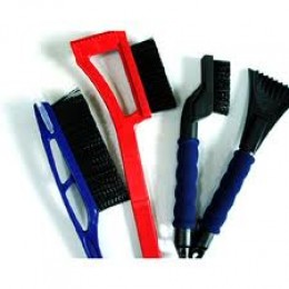 Here are several varieties of ice and snow scraping tools!
