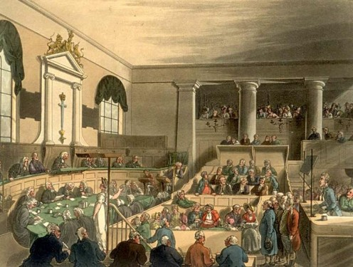 The Old Bailey (court) in London, 1808.