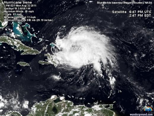 Hurricane Irene north of Puerto Rico on Monday Aug 22, 2011