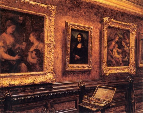 """Mona Lisa au Louvre"" - the painting Louis Beroud was working on when he discovered the theft. Image via Wikipedia"