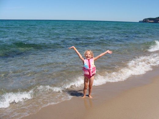 Grace exemplifying 'born free' on Miners Beach.