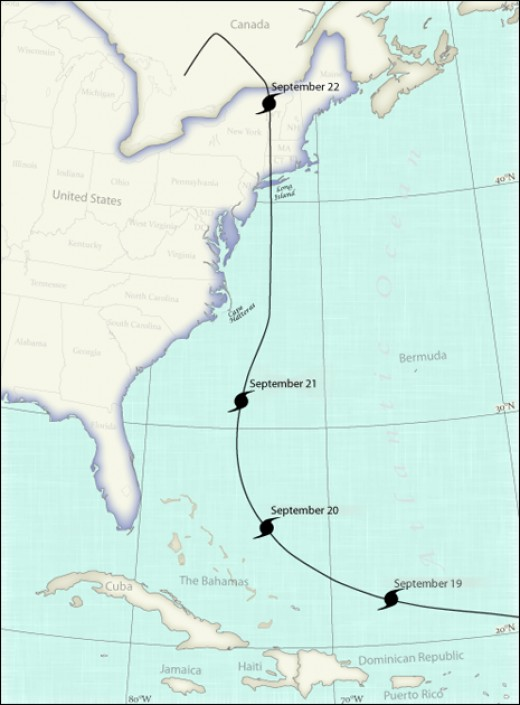 The path of the 1938 New England Hurricane