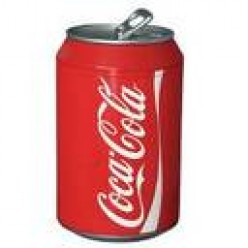 COKE IN THE HANDY ALUMINUM CAN WITH RED COLOR. RED IS PART OF OUR FLAG.