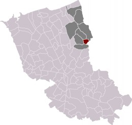 Map location of Oost-Cappel in Dunkirk 'arrondissement', France