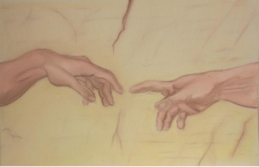 Creation of Adam by Michelangelo (my version in pastel)